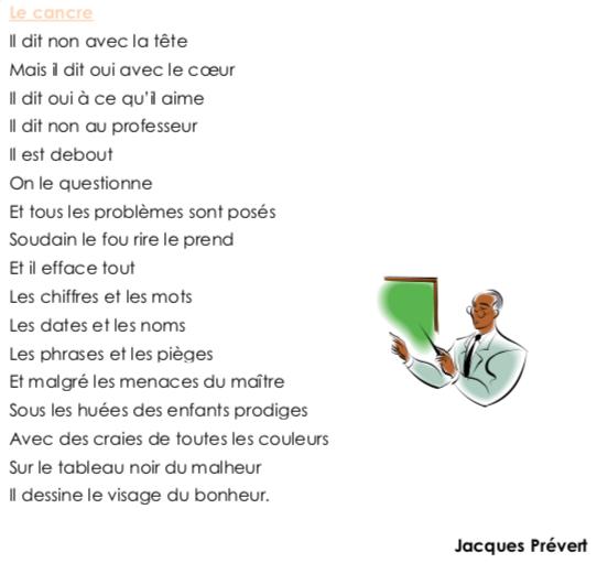 Poésie Ce2 Le Cancre Jacques Prévert Ecole Du
